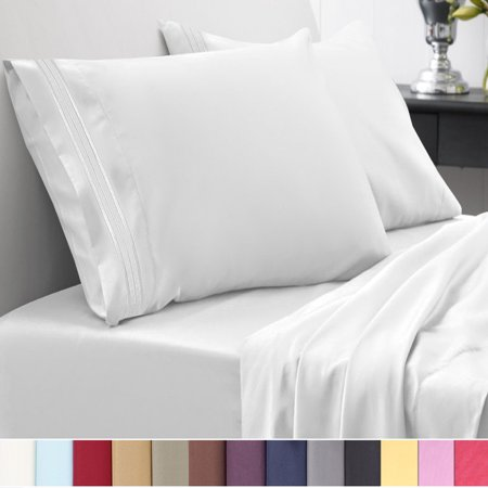 1500 Thread Count Egyptian Quality Microfiber Deep Pocket Bedroom Sheet Set Sweet Home Collection White - Queen