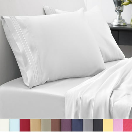1500 Thread Count Egyptian Quality Microfiber Deep Pocket Bedroom Sheet Set Sweet Home Collection White - Queen (Gold Black Bed Sheets)