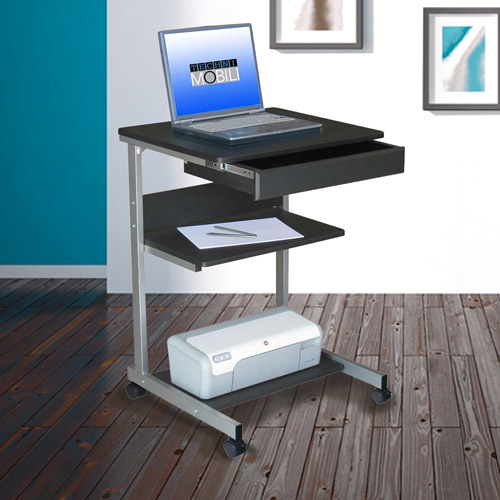 Techni Mobili Rolling Laptop Desk with Storage, Graphite