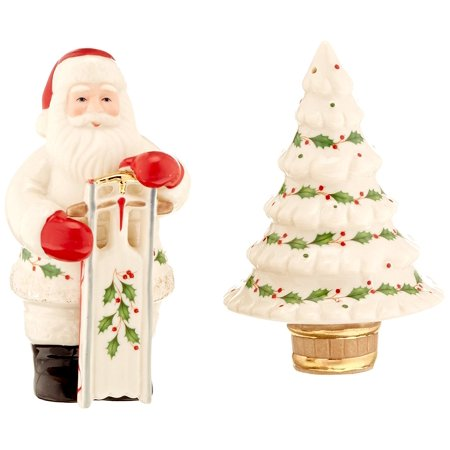 Holiday Santa Salt and Pepper Shakers, Crafted of hand painted porcelain By Lenox - Hand Painted Porcelain Accessory