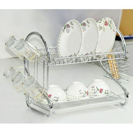 2 Tiers Kitchen Dish Cup Drying Rack Drainer Dryer Tray Cutlery Holder Organizer Hdpml