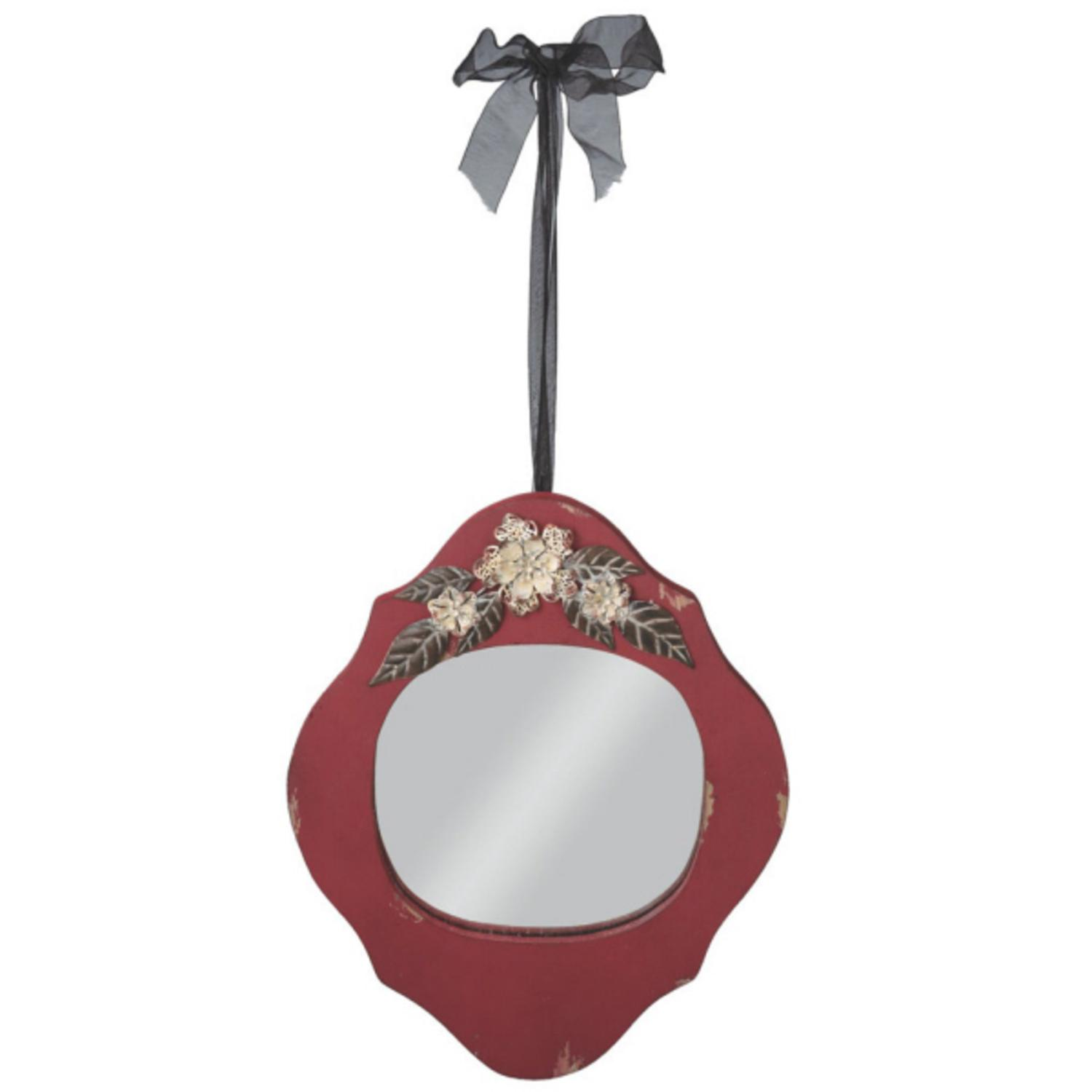 Pack of 2 Distressed Red Wall Mirrors with Flower Accent 14.5""