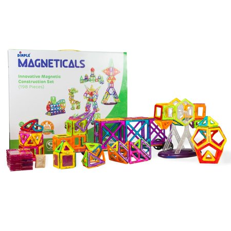 Kids Building Toys (Magneticals Magnet Toys Tile Set (198-Piece Set) Stack, Create and Learn Promote Early Learning, Creativity, Imagination Magnetic Building Toys for Kids, Top-Rated Perfect Toy for Boys and)
