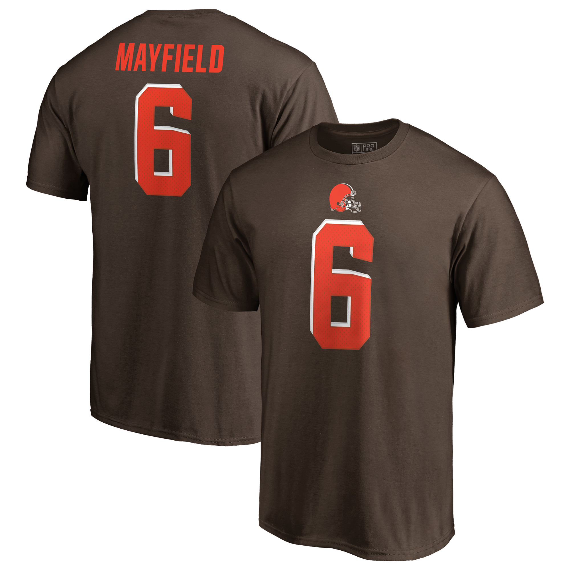 Baker Mayfield Cleveland Browns NFL Pro Line by Fanatics Branded Authentic Stack Name & Number T-Shirt - Brown