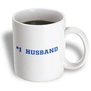 3dRose #1 Husband - Number One award for worlds greatest and best husbands - blue text Wedding anniversary, Ceramic Mug,