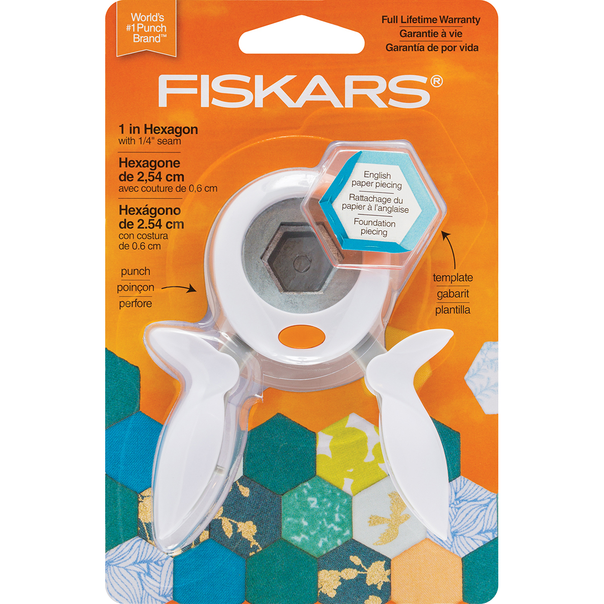 """Fiskars Squeeze Punch And Acrylic Template-1"""" Hexagon"""