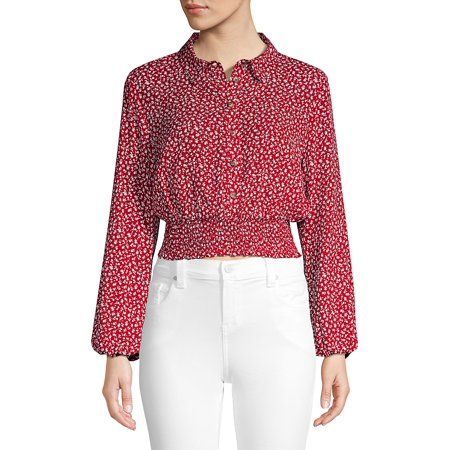 Floral-Print Cropped Button-Down