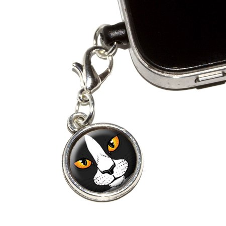 Rembrandt Cat Charm - Black and White Cat Face - Pet Kitty Mobile Phone Charm