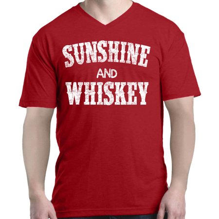 Shop4Ever Men's Sunshine and Whiskey Drinking V-Neck T-Shirt Shirts