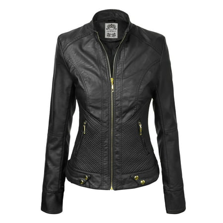 MBJ WJC747 Womens Dressy Vegan Leather Biker Jacket BLACK XS