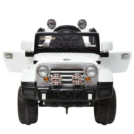 12V White Jeep Kids Ride On Battery Powered Toy Vehicle Remote Control W  Mp3 Led Lights