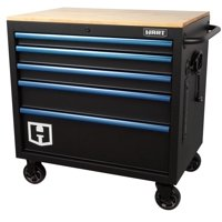 Hart 36-In W x 24-In D 5-Drawer Mobile Tool Chest Workbench w/ Wood Top