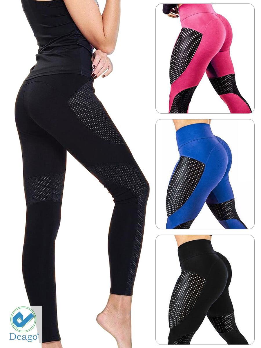 6902e03c9b0f8 Deago - Deago Women's Yoga Pants Mesh Workout Leggings Sports Trouser Gym  Fitness High Waist Tummy Control Pants - Walmart.com