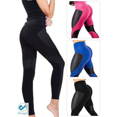 1f5233619a6e65 Deago - Deago Women's Yoga Pants Mesh Workout Leggings Sports Trouser Gym  Fitness High Waist Tummy Control Pants - Walmart.com