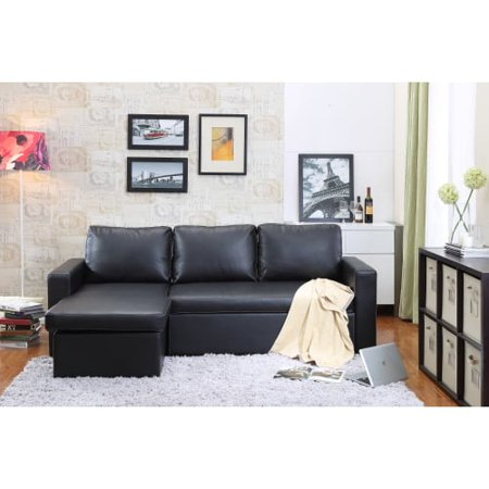 Delacora DF-9213 88 Inch Wide Sleeper Sofa with Chaise Lounge