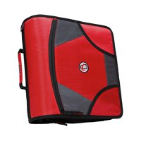 Case it 4 inch king sized zipper binder with 5 tab file folder, red