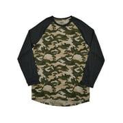 Mens Big & Tall Camouflage Crew Neck Long Sleeve Raglan T-Shirt