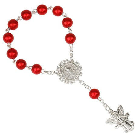 KABOER 7 Colors Fashion Gifts 8Mm Silver Angel Pendant Rosary Bracelet Women Lady Girls Children Jewelry Accessories