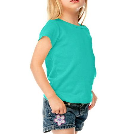 Kavio! Little Girls 3-6X Baby Doll Short Sleeve Top Caribbean Blue 4 Flag Baby Doll T-shirt