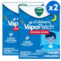 Vicks VapoPatch with Long Lasting Soothing Vicks Vapors for Children Ages 6+, Two 5ct Cartons