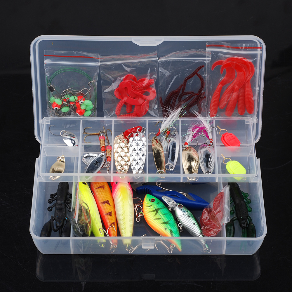 101pcs Trout Bass Fishing Lures Crankbaits Set Kit Soft and Hard Bait Hooks with Box by