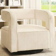 A Line Furniture Galactica Art Deco Floating Design Upholstered Swivel Accent Chair
