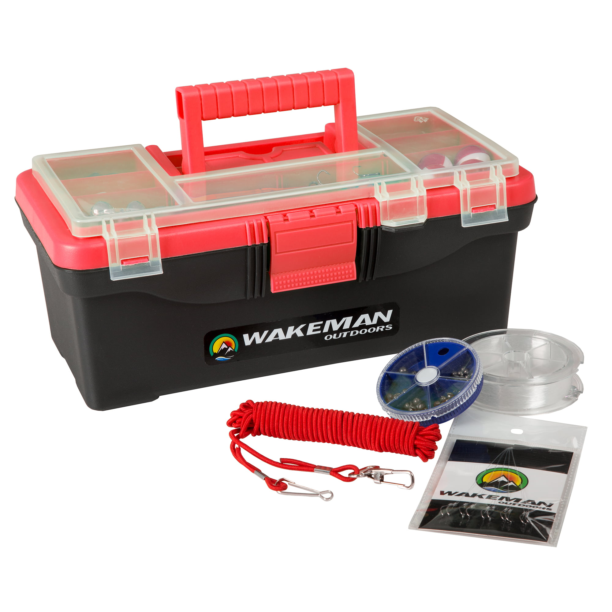 Wakeman Fishing Single Tray Tackle Box 55 Piece Red by Trademark Global