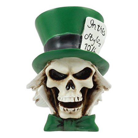 """Ebros The Mad Hatter Skull Statue 3"""" Tall Miniature In This Style 10/6 Hat Whimsical Skeleton Head Green Hatter With Green Bow Tie Figurine Alice"""