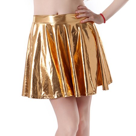 HDE Women's Shiny Liquid Metallic Wet Look Flared Pleated Skater Skirt (Gold, Small) - Metallic Silver Skirt