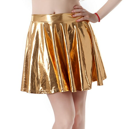 - HDE Women's Shiny Liquid Metallic Wet Look Flared Pleated Skater Skirt (Gold, Small)