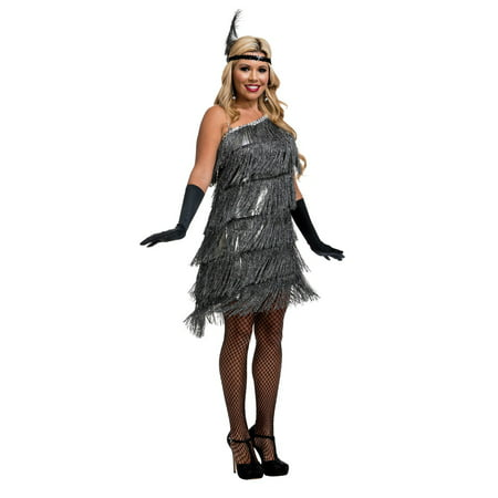 Womens Slant Fringe Flapper Halloween Costume](Women Flapper Costume)