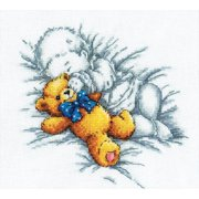 "Baby W/Teddy Bear Counted Cross Stitch Kit-8""X7.125"" 14 Count"