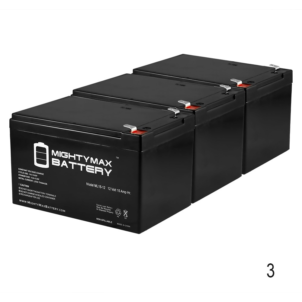 12V 15AH F2 Battery Replacement for Currie 750CD - 3 Pack