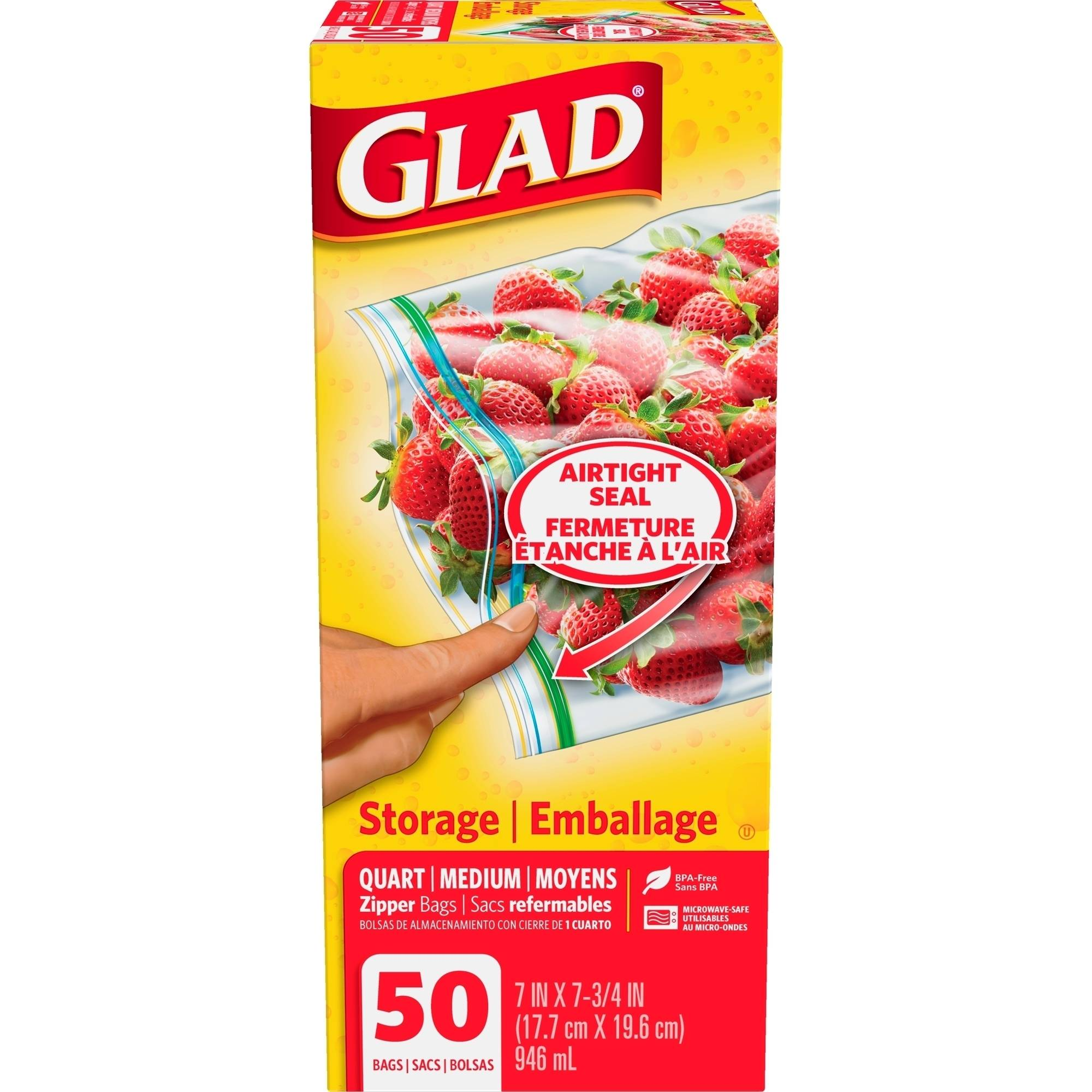 Glad Quart Size Zipper Food Storage Bags, 50 count