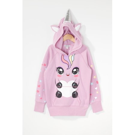 Urban Kids Youth Girls Heart And Star Glitter Unicorn Character Popover Hoodie - image 2 of 3