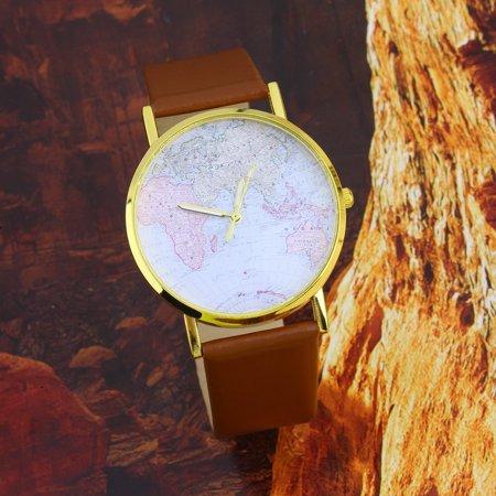 Fashion Womens Leather Alloy World Map Globe Analog Quartz Retro Wrist Watch - image 2 de 8