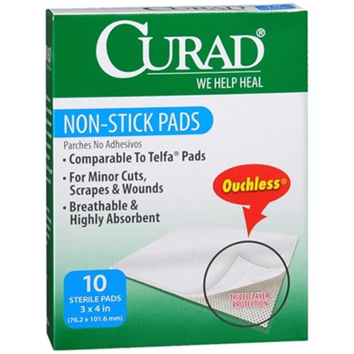 Curad Non-Stick Pads 3 Inches X 4 Inches 10 Each (Pack of 4)