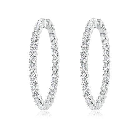 April Birthstone - Classic Shared Prong Diamond Inside Out Hoop Earrings in 14K White Gold (2.1mm Diamond) - SE1100D-WG-HSI2-2.1