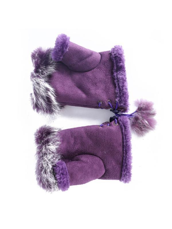 Suede Leather Warm Fingerless Gloves Rabbit Fur Wrist Mitten Glove Winter