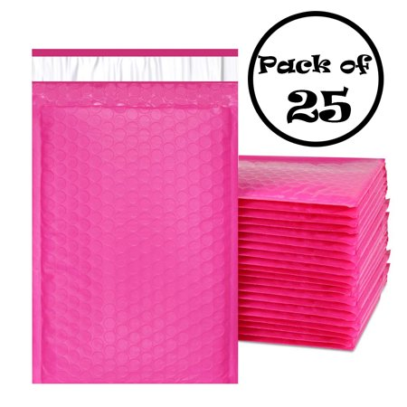 Poly Self Seal Bubble - PandaSpa 6x10 Inches EXTRA Thick Poly Bubble Mailers Self Seal Hot Pink Padded Envelopes, Pack of 25