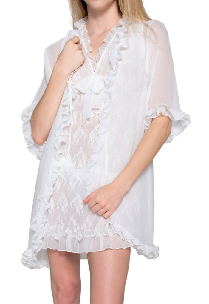 Women's Mystique Intimates 28032 Chantilly Short Wrap Robe