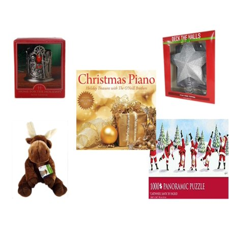 - Christmas Fun Gift Bundle [5 Piece] - Home For The s Nativity Votive Holder - Deck The Halls Silver Star Tree Topper 11.5