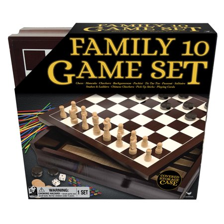 Family 10 Game Set with Chess, Checkers, Mancala, and More