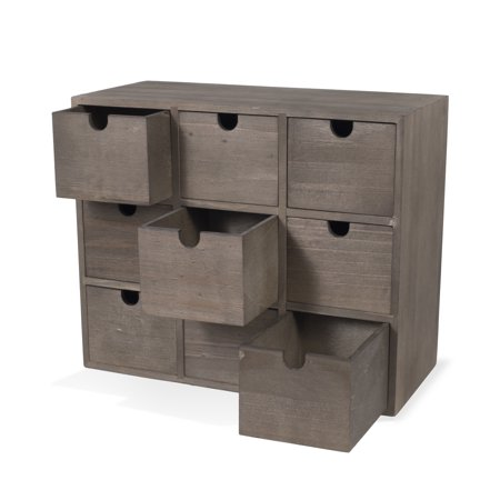 Rustic Design Desktop Organizer Storage Cabinet Spacious with 9-Drawers in Walnut ()