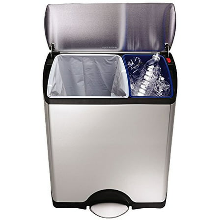 simplehuman 46L Dual Compartment Stainless Steel Rectangular Step Trash Can