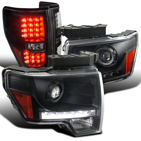 Spec-D Tuning For 2009-2014 Ford F150 Black Clear Led Projector Headlights + Led Tail Lamps (Left+Right) 2009 2010 2011 2012 2013 2014