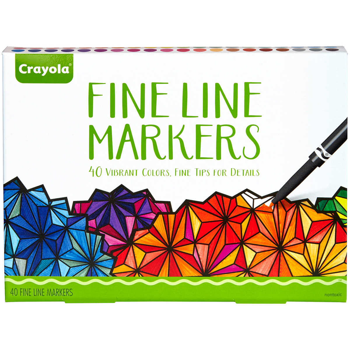 Crayola 40-Count Adult Coloring Fineline Markers, 40 Colors