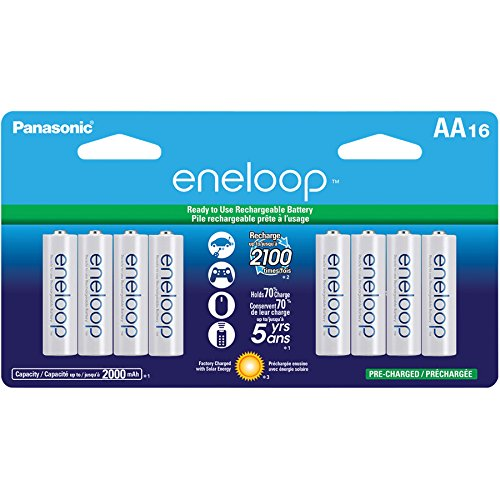 PANASONIC SPKBK3MCCA16BAW Panasonic BK-3MCCA16BA eneloop AA New 2100 Cycle Ni-MH Pre-Charged Rechargeable Batteries, 16 Pack