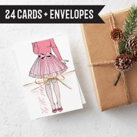 Modern Pink Holiday Christmas Cards for Her - 24 Folded Christmas Cards with Envelopes |Box Set Made in the USA