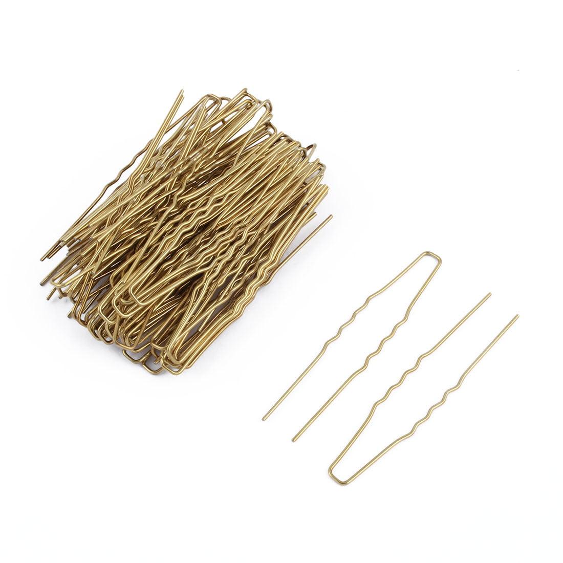Women Metal U Shape Hairstyle Hair Clip Hairpin Gold Tone 6.4cm Length 40pcs